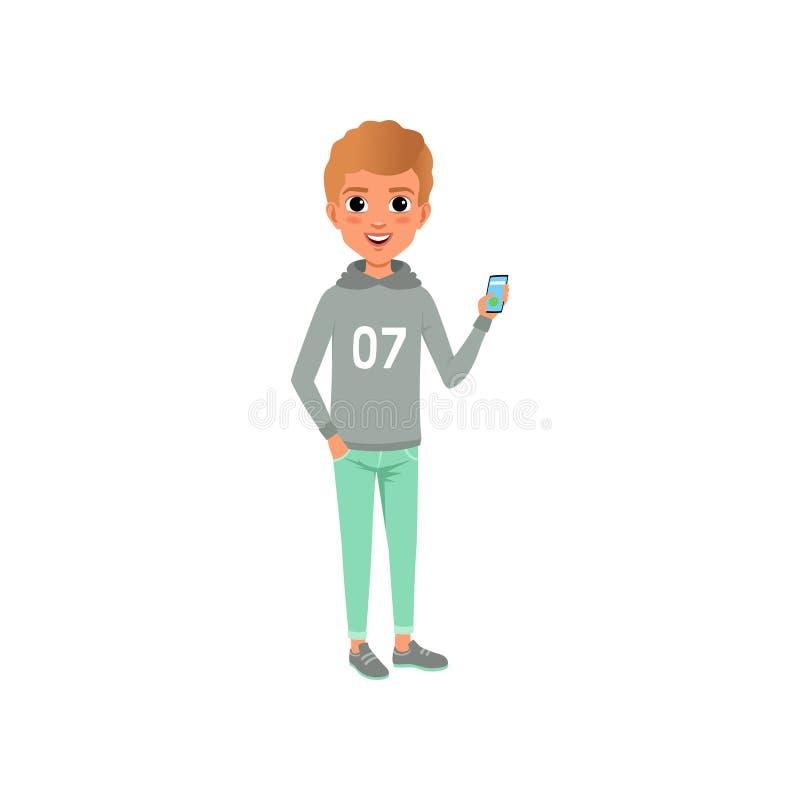 时髦的便衣灰色有冠乌鸦的年轻人有印刷品和绿松石长裤的 动画片微笑男孩的字符和 库存例证