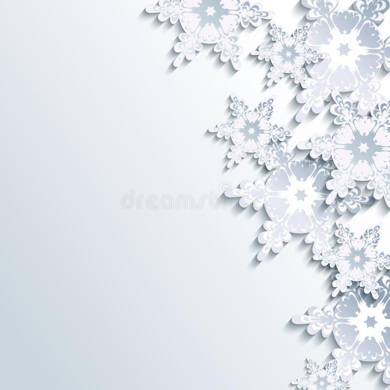 时髦的冬天背景,抽象3d雪花 向量例证