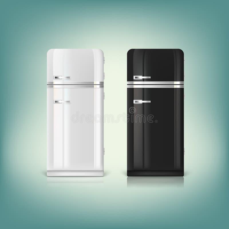 时髦的减速火箭的冰箱的汇集 皇族释放例证