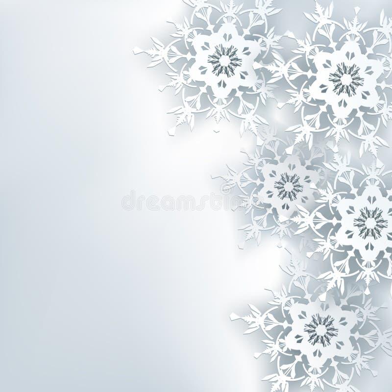时髦的创造性的抽象背景, 3d雪花 库存例证
