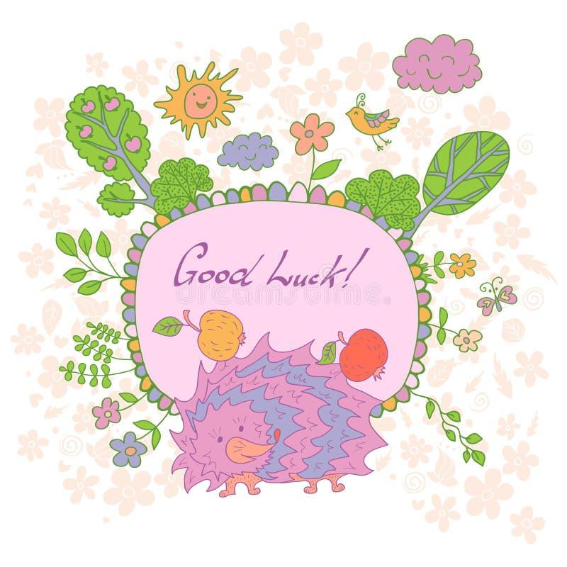 时髦的动画片卡片由逗人喜爱的花制成,被乱画的猬 向量例证