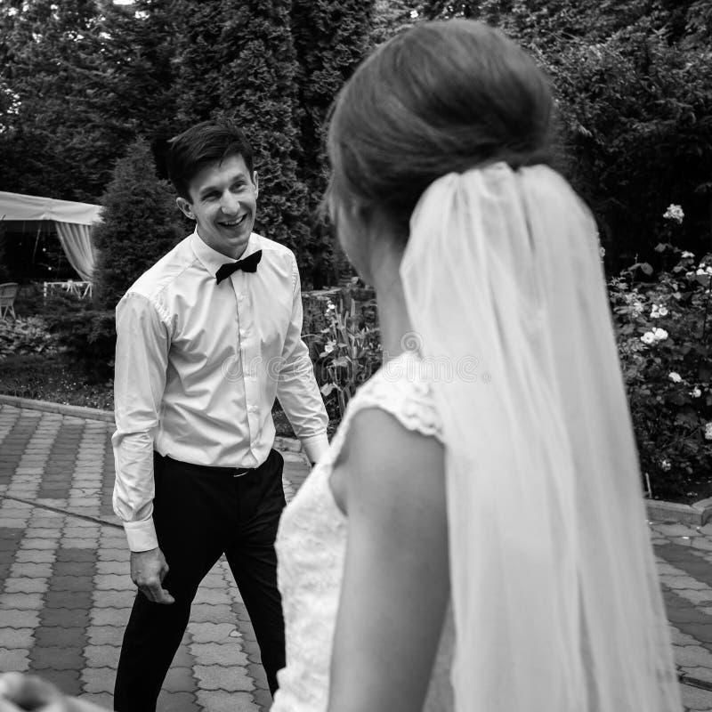 时髦的华美的愉快的新娘和典雅新郎执行他们 库存照片