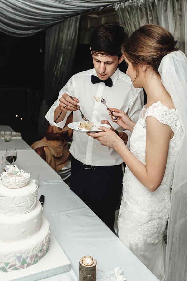 时髦的华美的新娘和典雅的新郎切口和品尝联合国 免版税库存图片