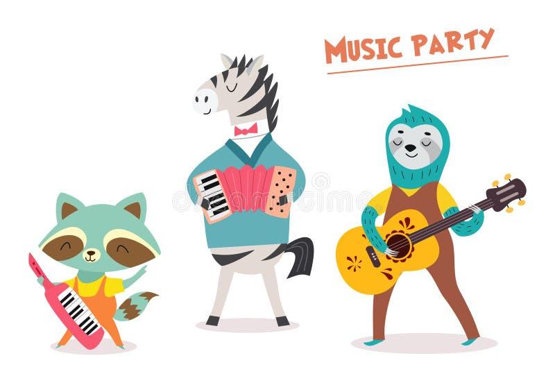 时髦的卡片或海报与逗人喜爱的动物带在动画片样式 导航与动物音乐家的例证音乐党的 向量例证