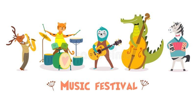 时髦的卡片或海报与逗人喜爱的动物带在动画片样式 导航与动物音乐家的例证音乐节的 皇族释放例证