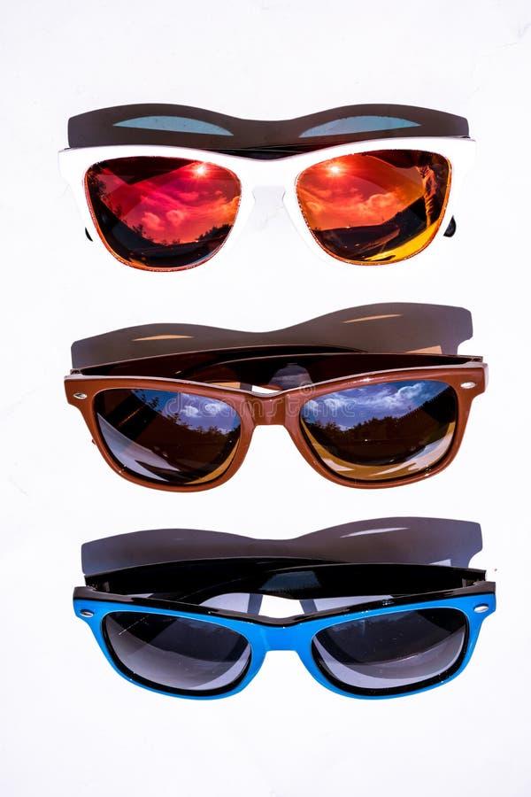 时髦的夏天玻璃的不同的类型 免版税库存照片