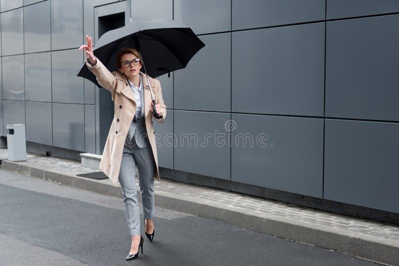 时髦的外套的女实业家有伞的呼吁出租汽车 库存照片
