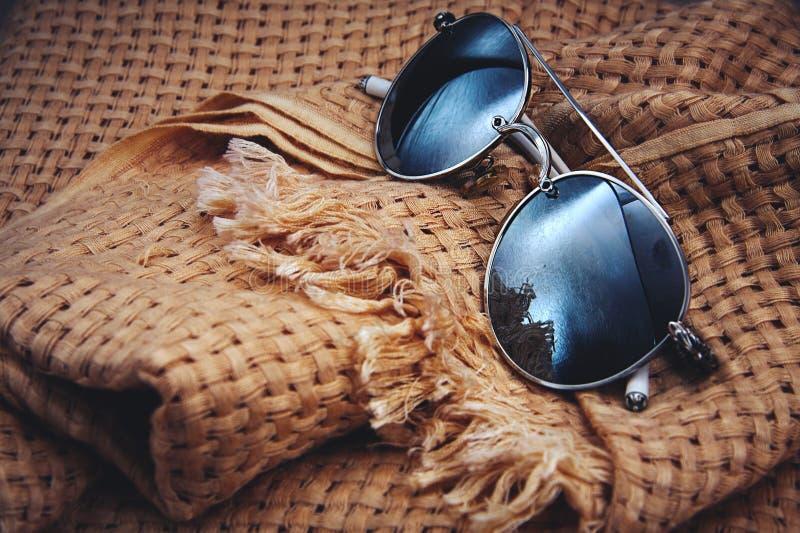 时髦的太阳镜和围巾 库存照片