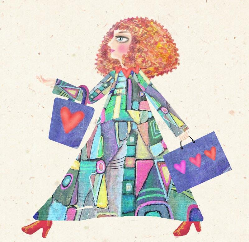 年轻时髦的女人的例证有购物袋的 库存例证
