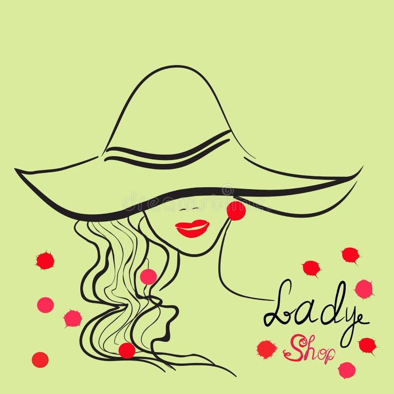 时髦的女孩手拉的画象帽子的 有益于商店商标,杂志封面,期刊文章,印刷品,成套设计 皇族释放例证