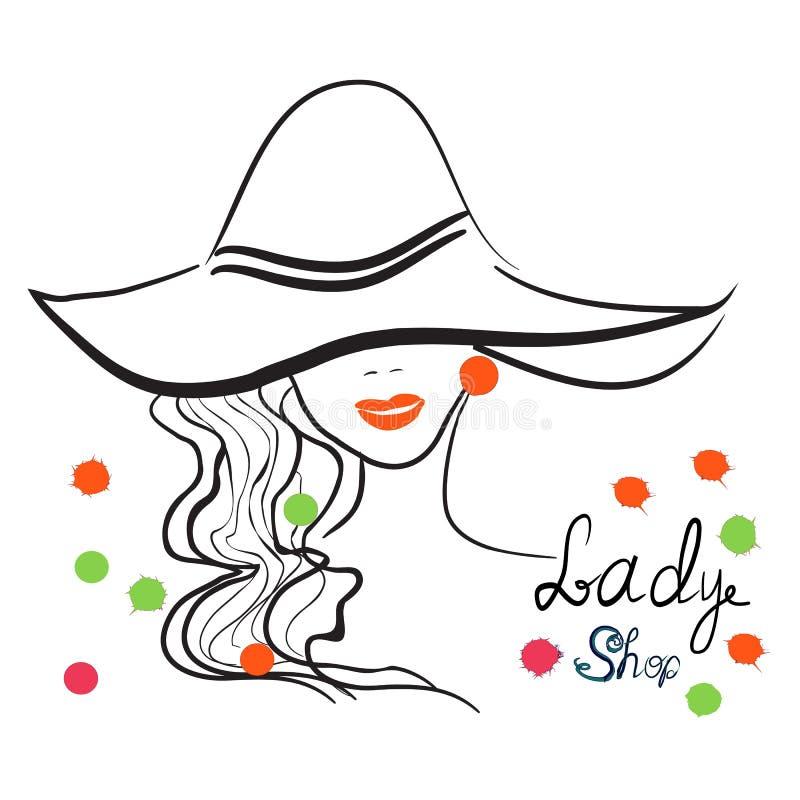 时髦的女孩手拉的画象帽子的 有益于商店商标,杂志封面,期刊文章,印刷品,成套设计 向量例证