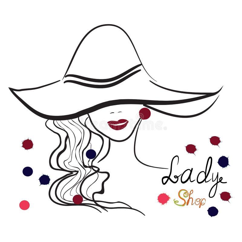 时髦的女孩手拉的画象帽子的 有益于商店商标,杂志封面,期刊文章,印刷品,成套设计 库存例证