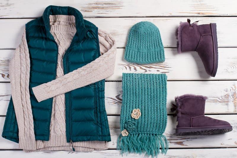 时髦的女性套冬天衣裳 库存照片