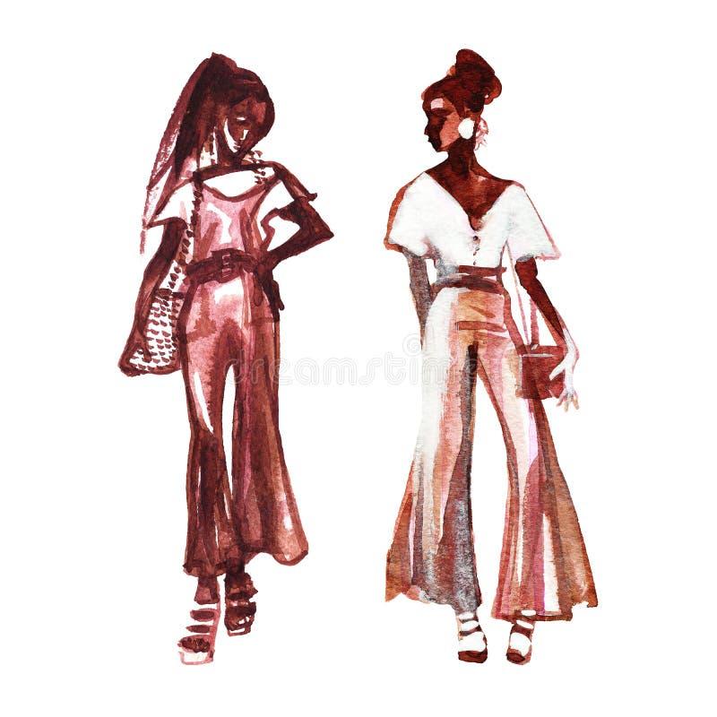 时髦的妇女水彩画象  库存例证