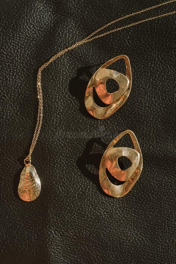 时髦的妇女的金首饰和首饰在皮革背景 时兴的垂饰和耳环 免版税库存照片