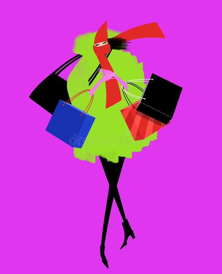 时髦的妇女购物在一个有风冬日 皇族释放例证