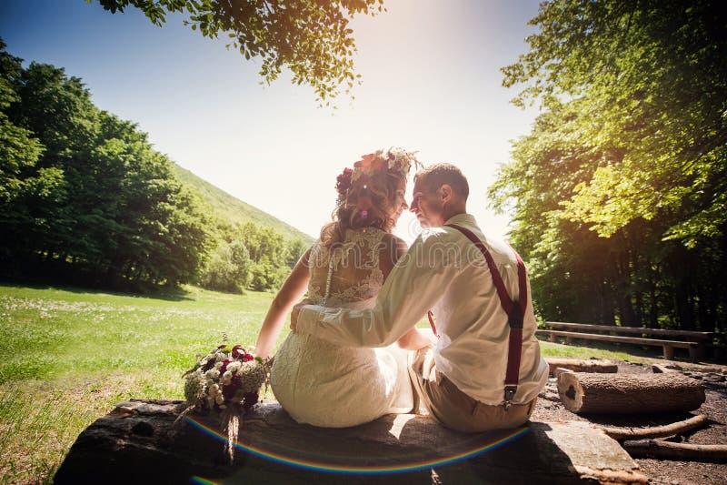 时髦的婚礼夫妇坐一条长凳在公园 库存图片