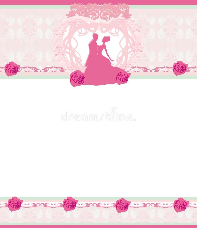 时髦的婚礼邀请卡片有葡萄酒装饰品背景 皇族释放例证