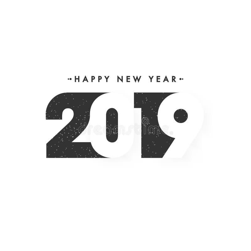 时髦的字法2019年在白色背景新年快乐 库存例证