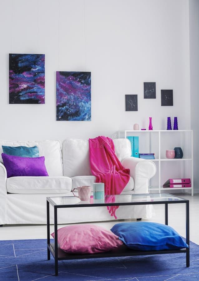 时髦的客厅垂直的看法有舒适的白色长沙发的有桃红色毯子和蓝色和紫色枕头的,波斯菊图表o 库存图片