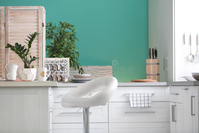 时髦的家庭设计的厨房内部设置想法 免版税库存照片
