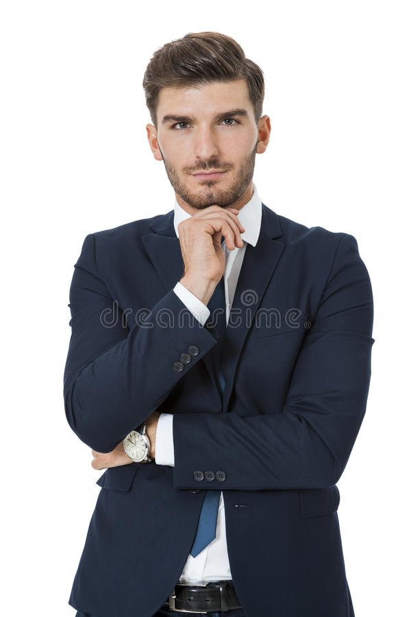 时髦的成功的年轻商人 免版税库存照片