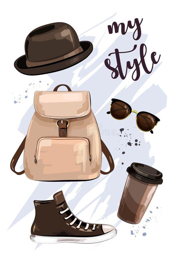 时髦的成套装备 与帽子、袋子组装、鞋子、太阳镜和咖啡杯的手拉的集合 时装配件和衣裳 草图 向量例证
