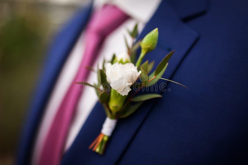 时髦的新郎,佩带的花钮扣眼上插的花, 库存图片