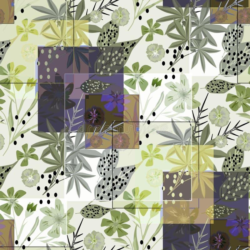 时髦的无缝的花卉减速火箭的样式 蓝色,绿色花,在轻的背景的叶子 向量例证