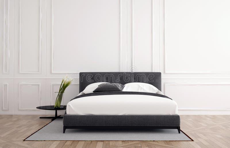 时髦的最低纲领派卧室内部 向量例证