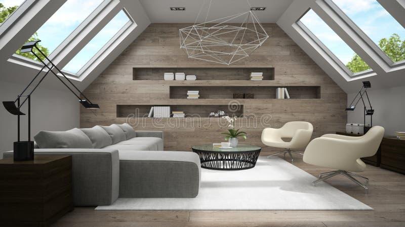 时髦的有双重斜坡屋顶的房屋的室3D翻译内部  库存照片