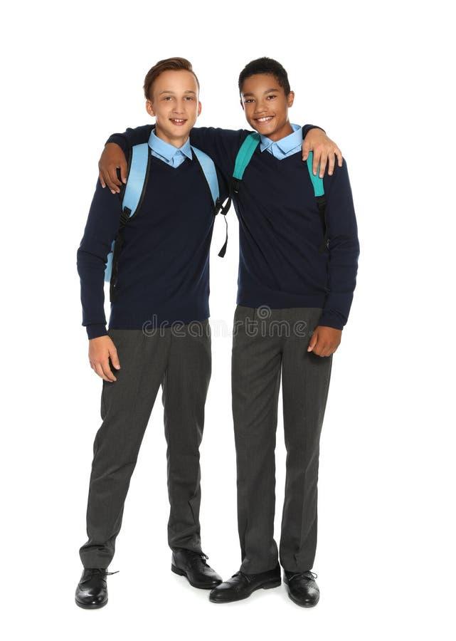 时髦的校服的少年 图库摄影