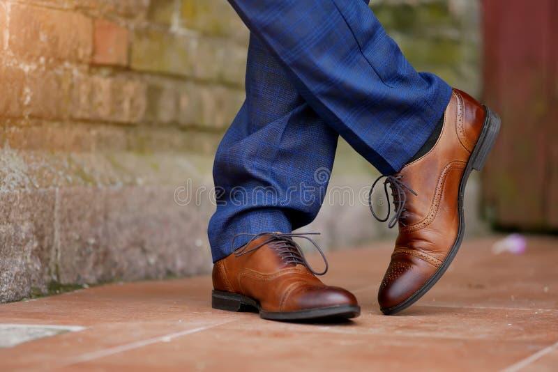 时髦的棕色men& x27;s鞋子特写镜头 库存照片