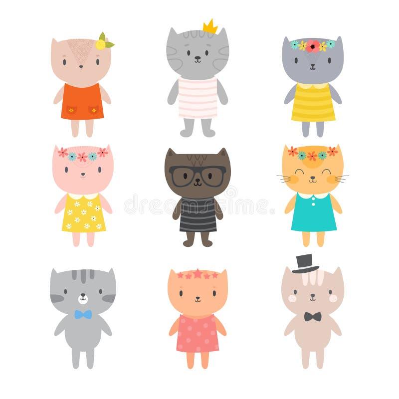 时髦的猫 您的设计的逗人喜爱的小猫 孩子的时髦样式 向量例证