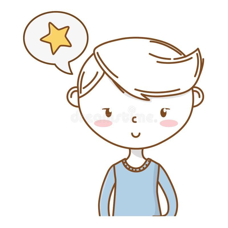 时髦的男孩动画片成套装备画象 向量例证