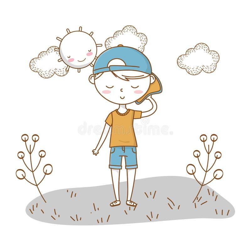时髦的男孩动画片成套装备自然云彩背景 皇族释放例证