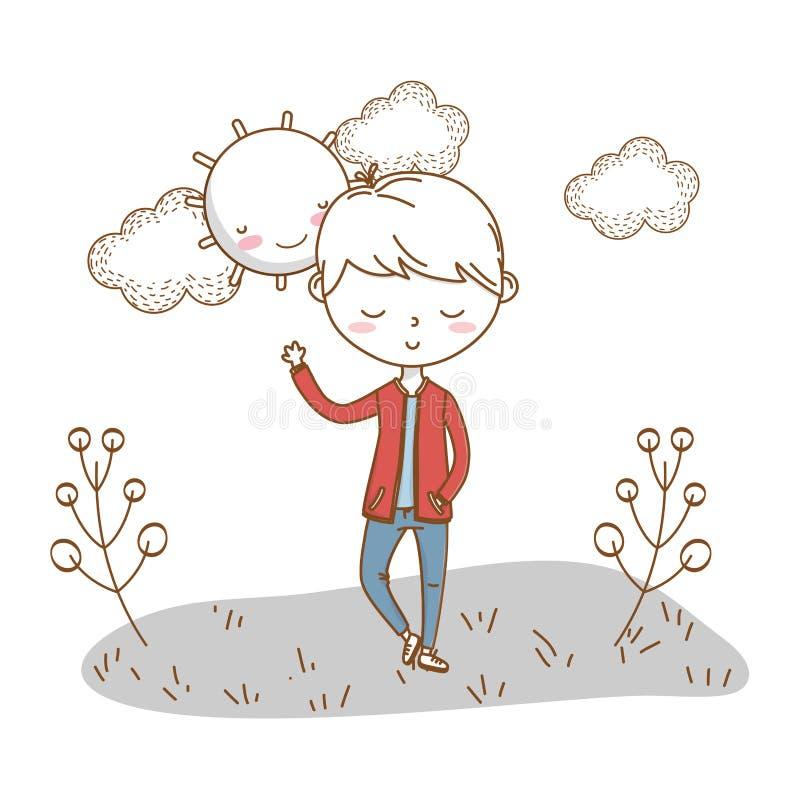 时髦的男孩动画片成套装备自然云彩背景 库存例证