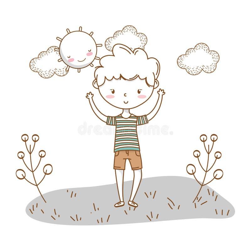 时髦的男孩动画片成套装备自然云彩背景 向量例证