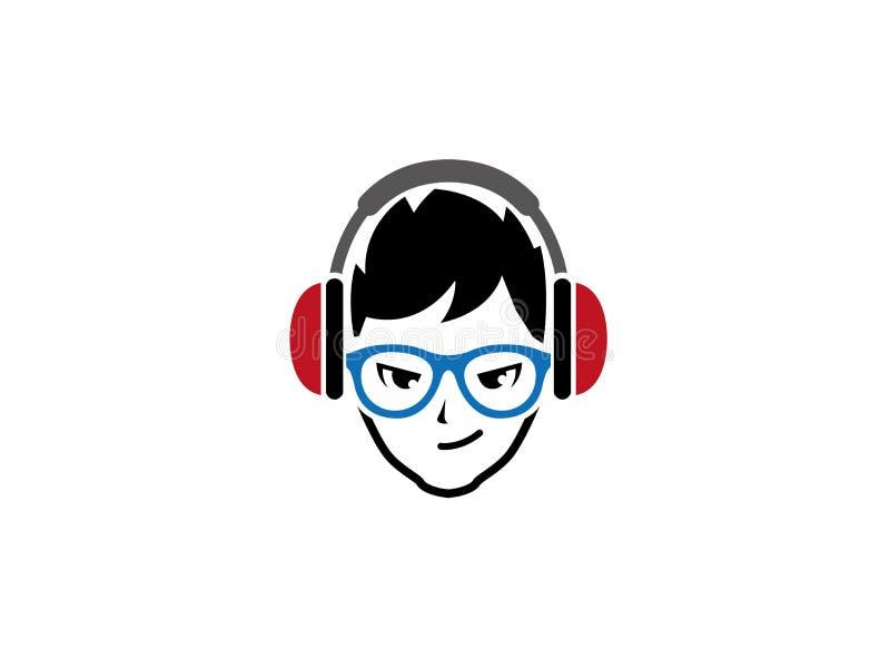 时髦的男孩投入了耳机和蓝色玻璃商标设计的 向量例证