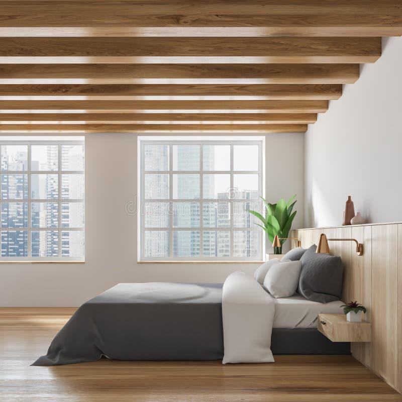 时髦的白色和木卧室内部 向量例证