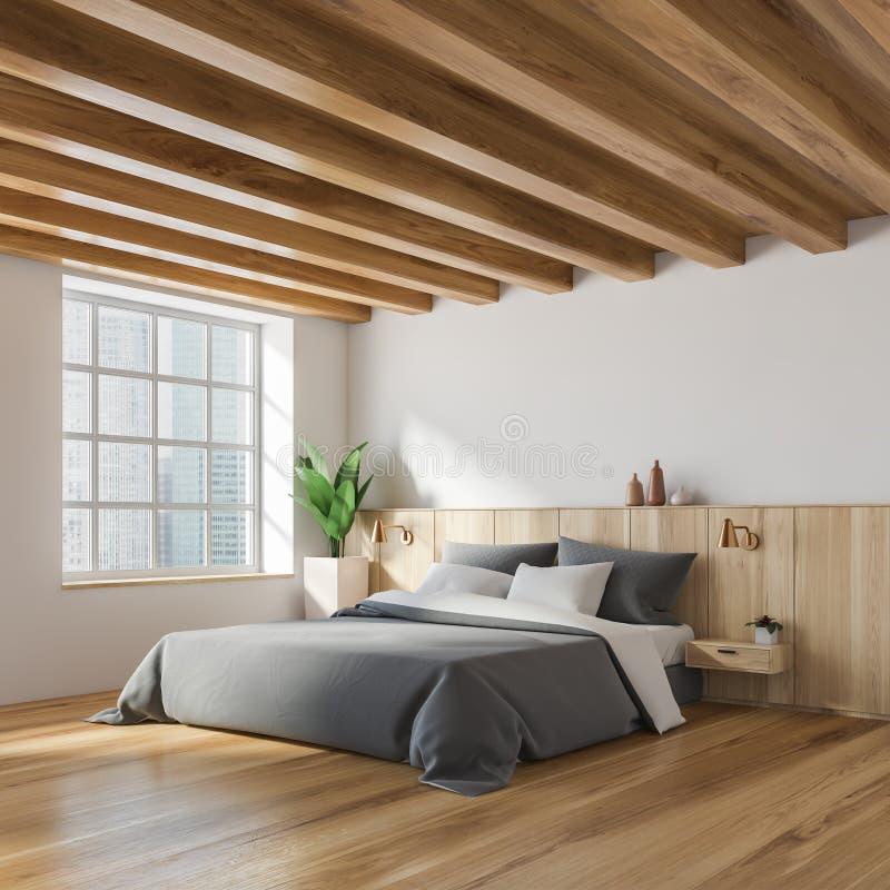 时髦的白色和木卧室角落 向量例证