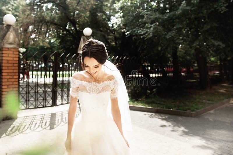 时髦的白色礼服的美丽的年轻新娘,微笑在公园遇见她的新郎 免版税库存照片