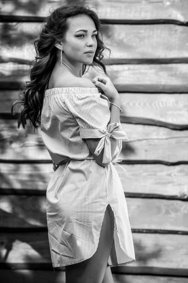 时髦的礼服姿势的年轻肉欲&秀丽女孩反对难看的东西木背景 黑白的照片 库存照片