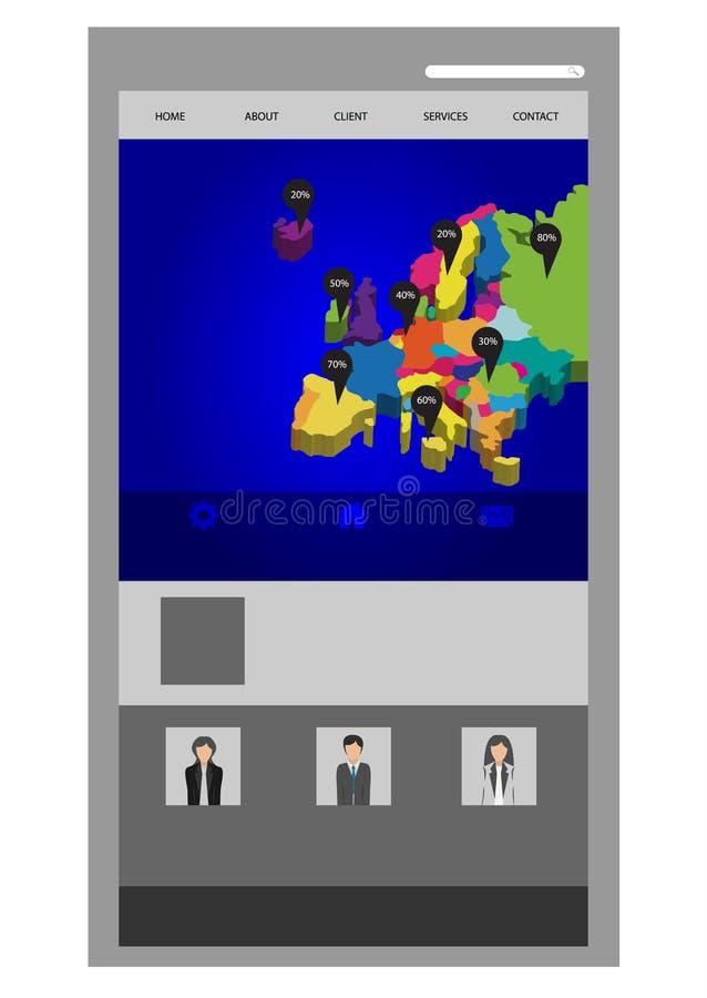 时髦的网站模板-股份单布局 库存图片