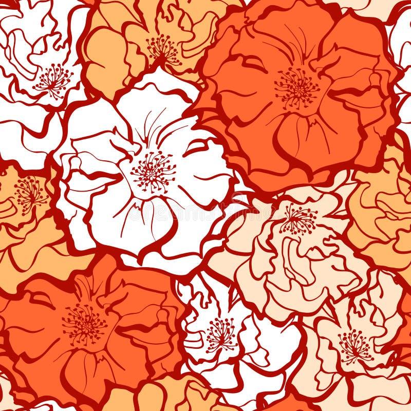 时髦的罗斯开花装饰品 向量例证