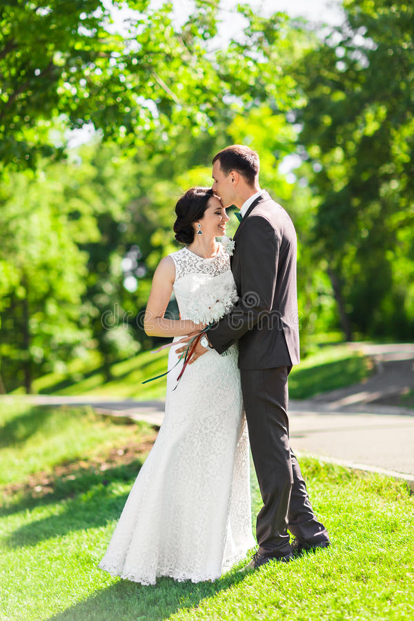 时髦的美丽的愉快的新娘和新郎,室外婚姻的庆祝 免版税库存图片