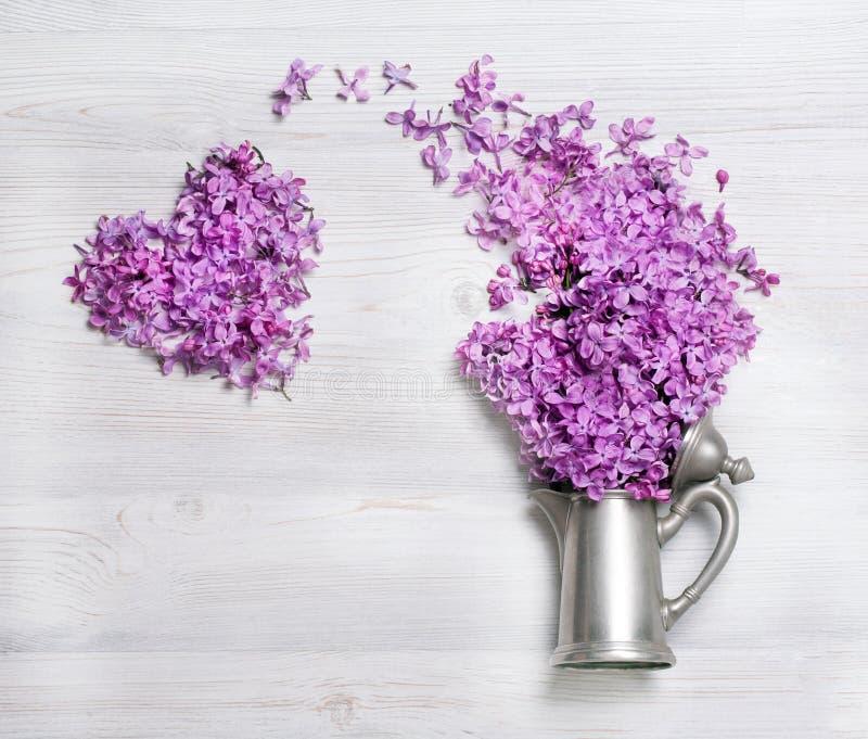 时髦的老水壶,丁香分支在白色背景的 美丽的幻想春天静物画 库存图片