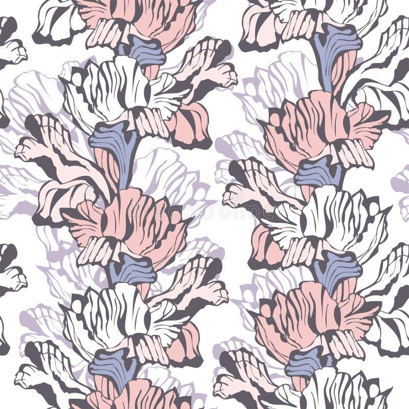 时髦的花卉无缝的背景 向量例证