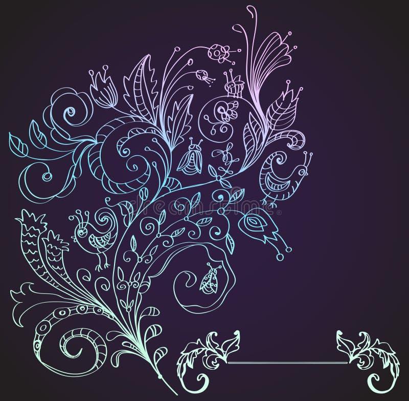 时髦的花卉背景,手拉的花 皇族释放例证