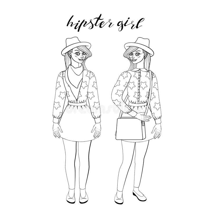 时髦的葡萄酒成套装备身分的美丽的年轻行家女孩 皇族释放例证